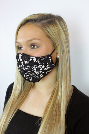'Lovelace' Vegan-Friendly Italian Cotton Black Lace and Metallic Cotton Twill Reusable Fashion Mask (VON SORELLA x March for Science Collection)