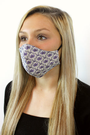 'Amelia' Vegan-Friendly Italian Jacquard Navy Slate/Purple Printed Reusable Fashion Mask (VON SORELLA x March for Science Collection)