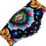 'Ariel' Bright Floral Textured Italian Textile Fashion Mask (Non-Medical Grade)
