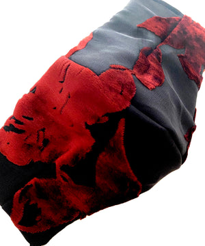 Load image into Gallery viewer, 'Jezebel' Black and Red Floral Italian Velvet Fashion Mask (Non-Medical)