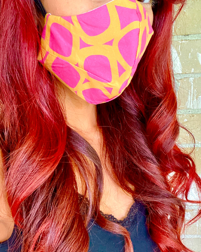 'Jenny' 60's Mod Bold Yellow and Pink Print Italian Cotton Fashion Mask (Non-Medical Grade)