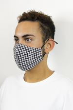 'Kai' Vegan-Friendly Italian Cotton Navy Geometric Reusable Fashion Mask (VON SORELLA x March for Science Collection)