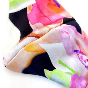 'Siona' Bright Multicolor Floral Print Italian Silk Fashion Mask (Non-Medical Grade)