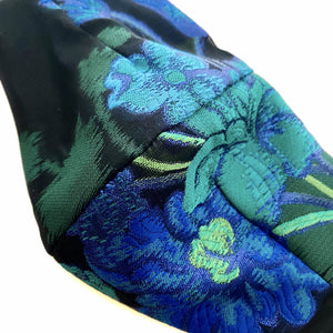 Load image into Gallery viewer, 'Verna' Blue and Green Floral Italian Silk Fashion Mask (Non-Medical)