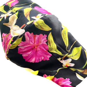 'Eliza' Black and Pink Floral Print Italian Silk Fashion Mask (Non-Medical Grade)