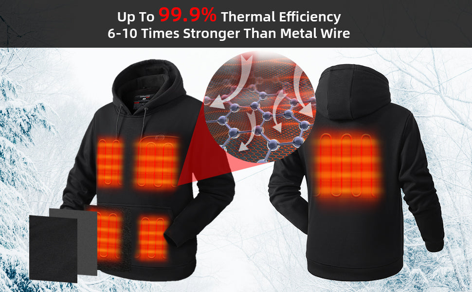 Pullover Heated Hoodie for Unisex with Heating Pockets 7.4V