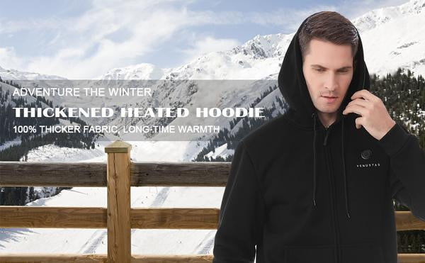 Zipper Up Heated Hoodie For Unisex 7.4V