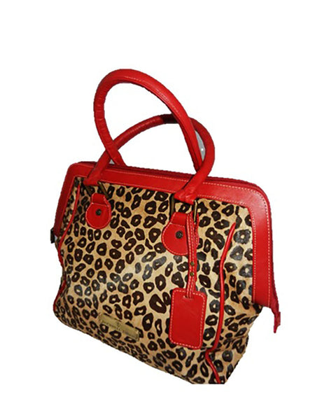 Leopard Calf Hair w/Red Trim