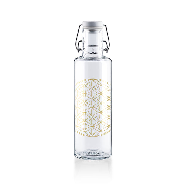 Soulbottle-600ml-Glas-Trinkflasche- Flower-of-Life-Motiv