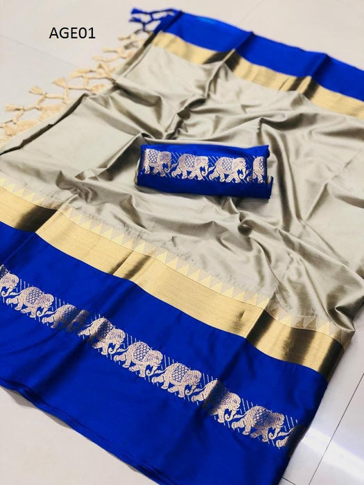 Get Saree Attractive Beige And Blue Color Designer Soft Silk Saree With Blouse Piece