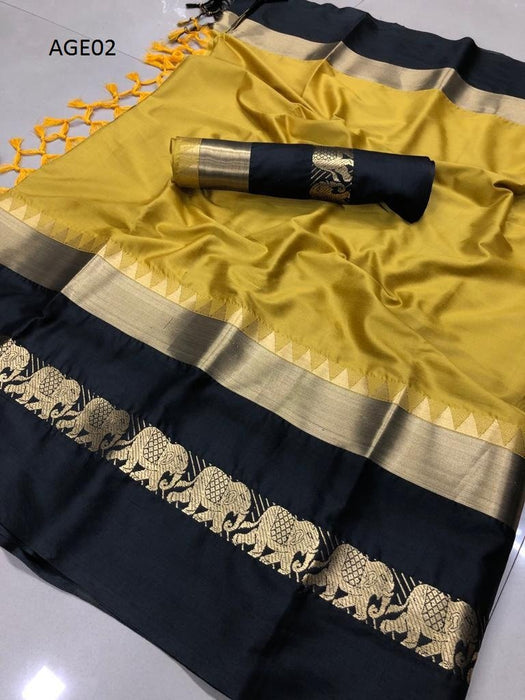 Get Saree Attractive Gold And Black Color Designer Soft Silk Saree With Blouse Piece