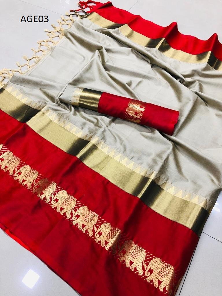 Get Saree Beautiful Designer Beige And Red Color Designer Soft Silk Saree With Blouse Piece