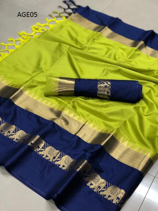 Get Saree Pretty Lemon Color Soft Silk Designer Sarees With Blouse Piece