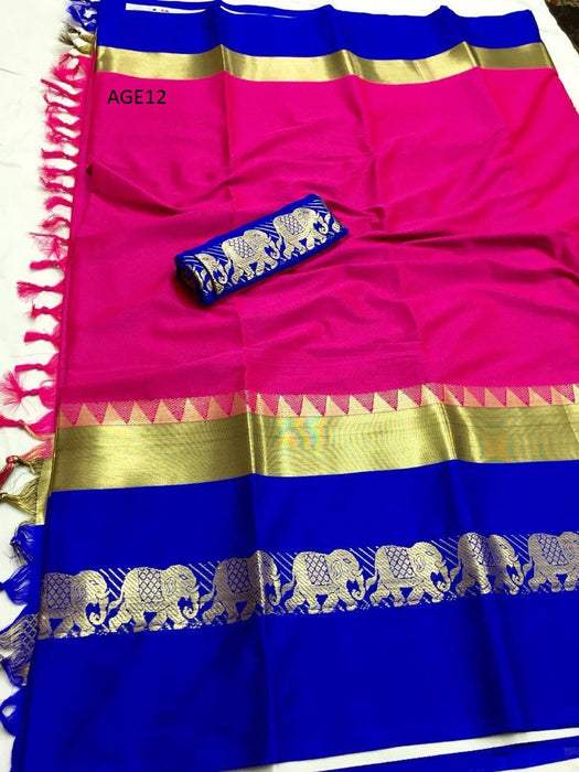 Get Saree Surpassing Pink Wedding Wear Soft Silk Saree With Blouse Piece