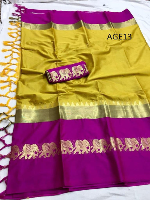 Get Saree Amazing Yellow Wedding Wear Soft Silk Saree With Blouse piece