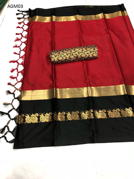Get Saree Attractive Red Colored Soft Silk Saree with Blouse Piece