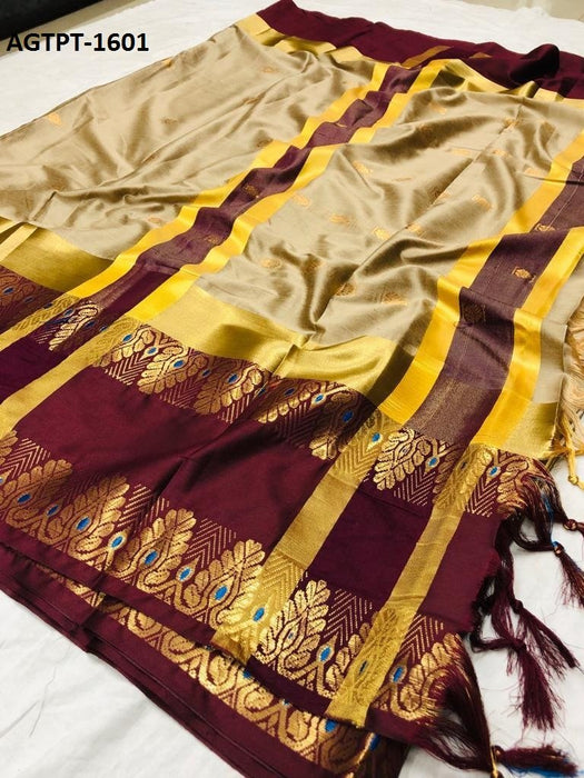 Get Saree Fantastic multi colored wedding wear designer saree with With Blouse Piece