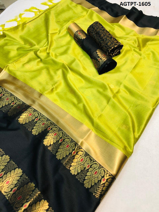 Get Saree Pretty lemon and black wedding wear soft silk saree with blouse