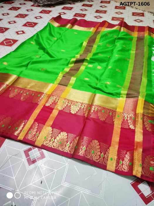 Get Saree Attractive green and red colored soft silk saree With Blouse Piece