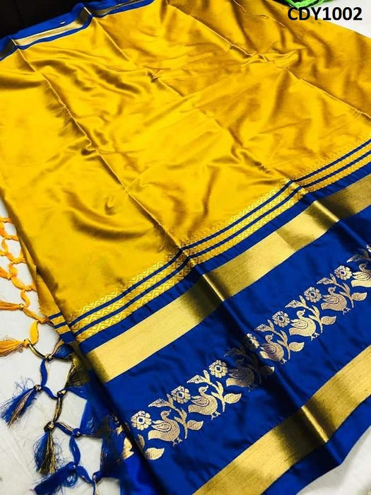Get Saree Stylish Designer Yellow And Blue Color Soft Silk Zari Border Pattern Saree With Blouse Piece