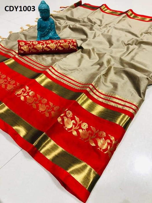 Get Saree Designer Beige And Red Color Soft Silk Zari Border Pattern Saree With Blouse Piece