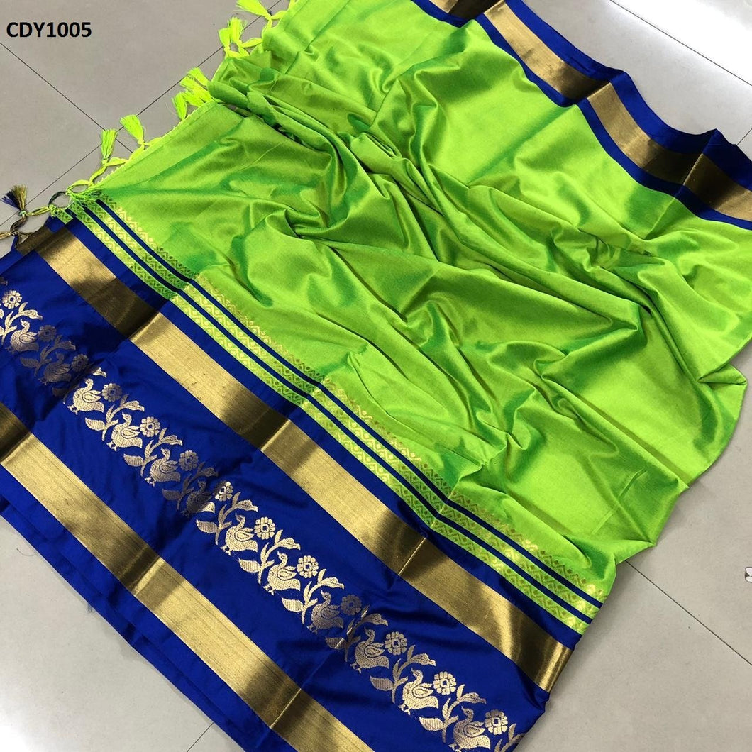 Get Saree Glorious Lemon And Blue Color Soft Silk Zari Border Pattern Saree With Blouse Piece