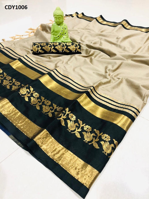 Get Saree Beautiful Beige And Black Color Soft Silk Zari Border Pattern Saree With Blouse Piece