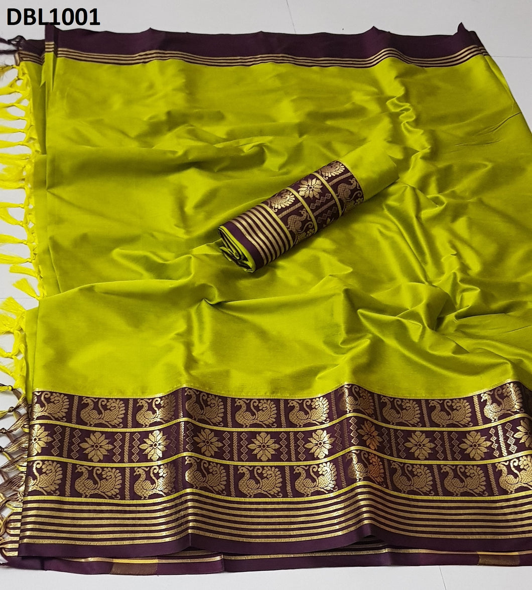 Superb Perrot green And Brown Color Wedding Wear cotton Soft Silk Saree With Blouse Piece
