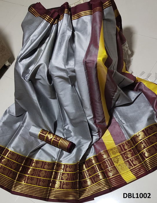 Ravishing Grey and brown Color Wedding Wear cotton Soft Silk Saree With Blouse Piece