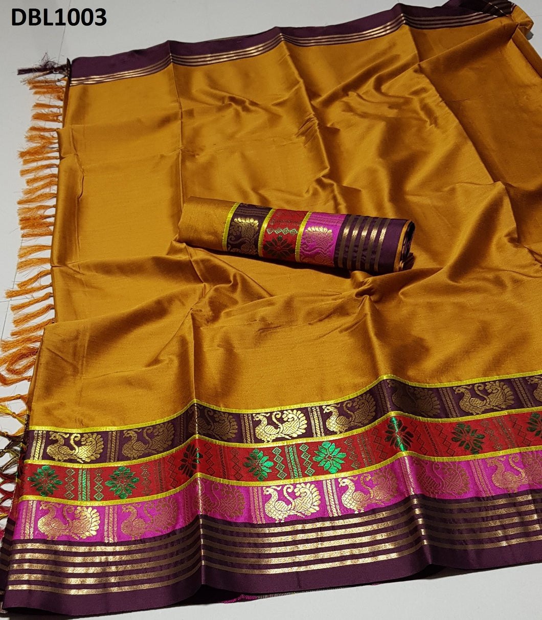 Splendid  Multi Color Wedding Wear cotton Soft Silk Saree With Blouse Piece