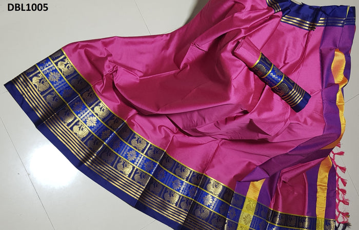 Radiant Pink And Blue Color Wedding Wear cotton Soft Silk Saree With Blouse Piece