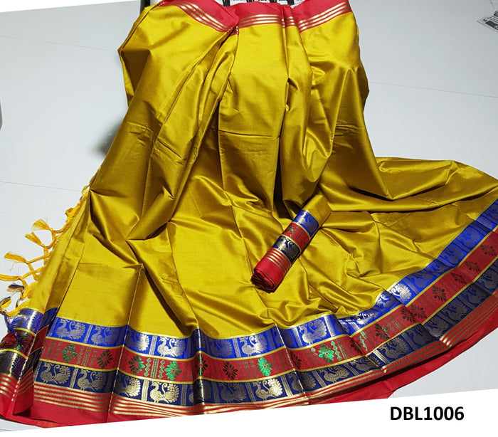 Ideal Yellow Color Wedding Wear cotton Soft Silk Saree With Blouse Piece
