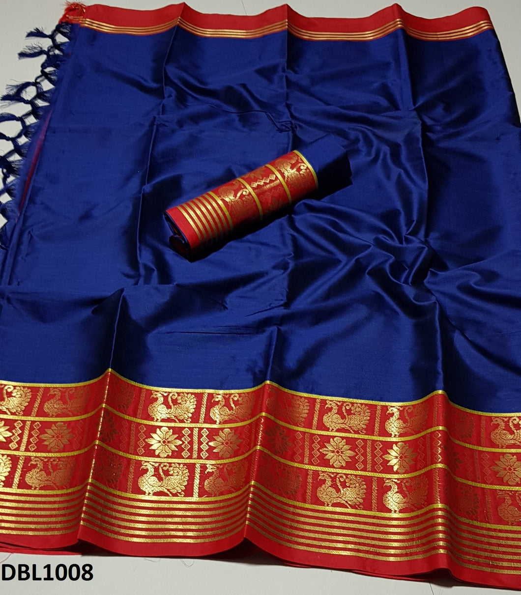 Fascinating Blue And Red Color Wedding Wear cotton Soft Silk Saree With Blouse Piece