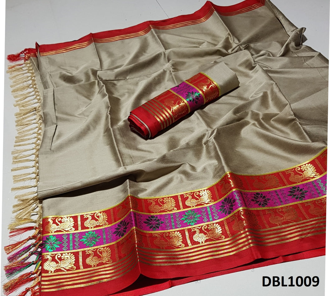 Fascinating Biege And Red Color Wedding Wear cotton Soft Silk Saree With Blouse Piece