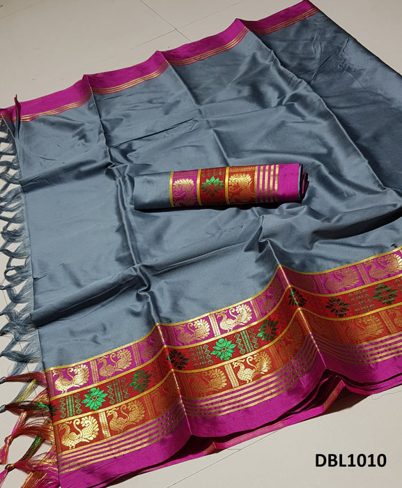 Alluring Slate grey Color Wedding Wear cotton Soft Silk Saree With Blouse Piece