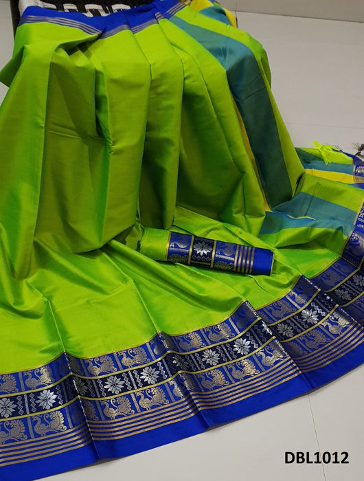 Graceful Parrot Green And Blue Color Wedding Wear cotton Soft Silk Saree With Blouse Piece
