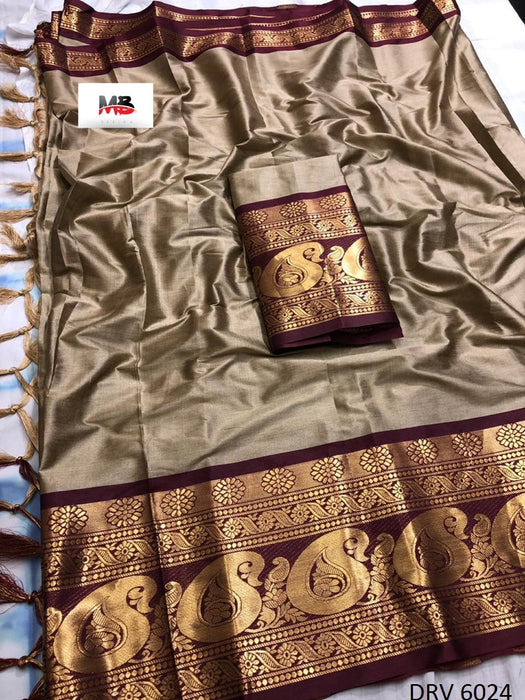 Get Saree Fantastic Brown Color Wedding Wear cotton Soft Silk Saree With Blouse Piece