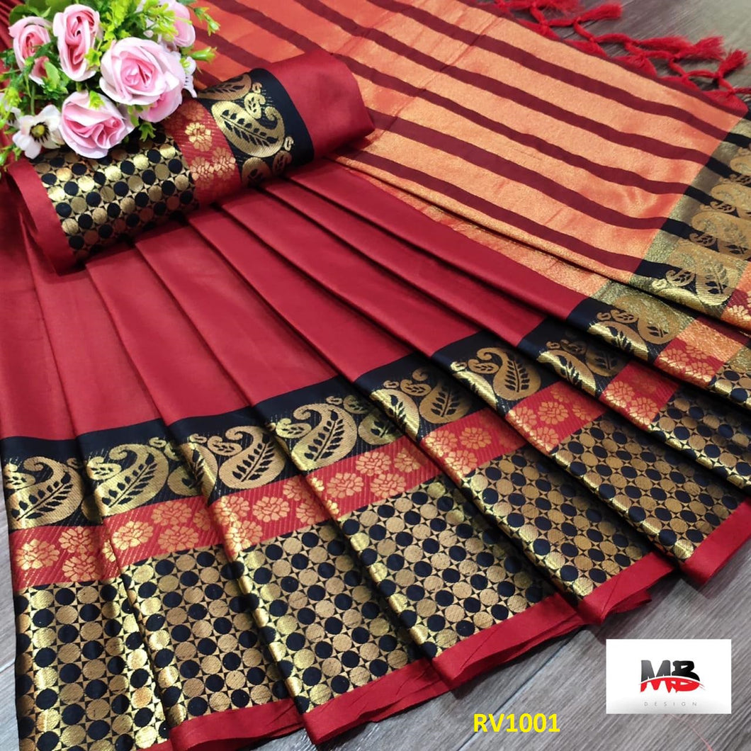 Get Saree Trendy Red And Black Color Soft Silk Zari Border Pattern Saree With Blouse Piece
