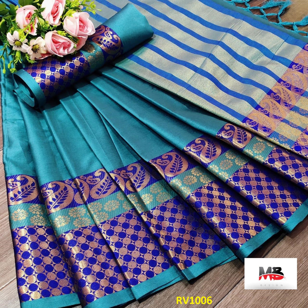 GORGEOUS FIROZI AND VIOLET COLORED WEDDING WEAR SOFT SILK SAREE WITH BLOUSE PIECE
