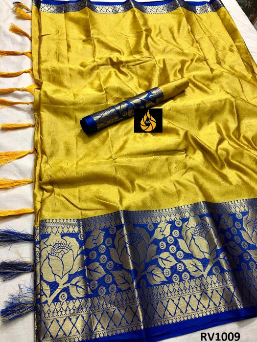 Exquisite Yellow And Blue Color Wedding Wear cotton Soft Silk Saree With Blouse Piece