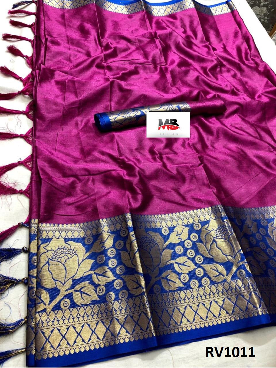 Good-Looking Dark Pink And Blue Color Wedding Wear cotton Soft Silk Saree With Blouse Piece