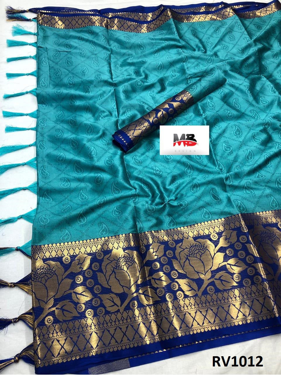 Unique Sky Blue Color Wedding Wear cotton Soft Silk Saree With Blouse Piece