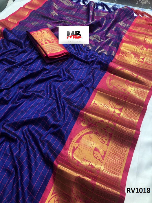 Sublime Blue and pink Wedding Wear Soft Silk Saree With Blouse Piece