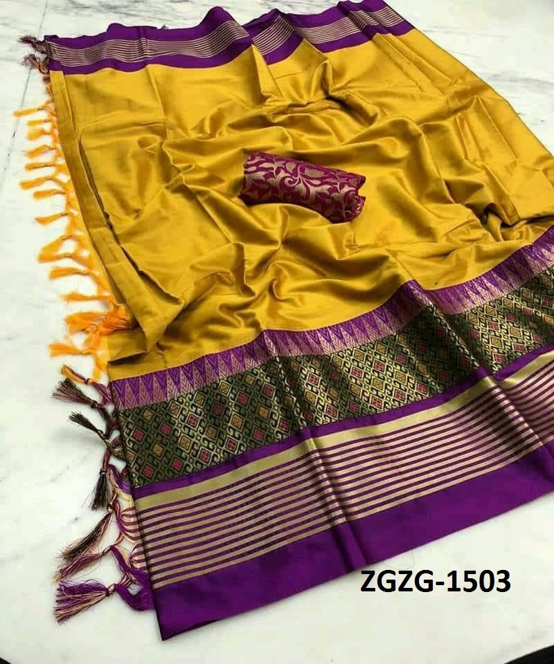 Get Saree Lovely Yellow Wedding Wear Soft Silk Saree With Blouse Piece