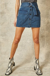 Button Up Denim Skirt