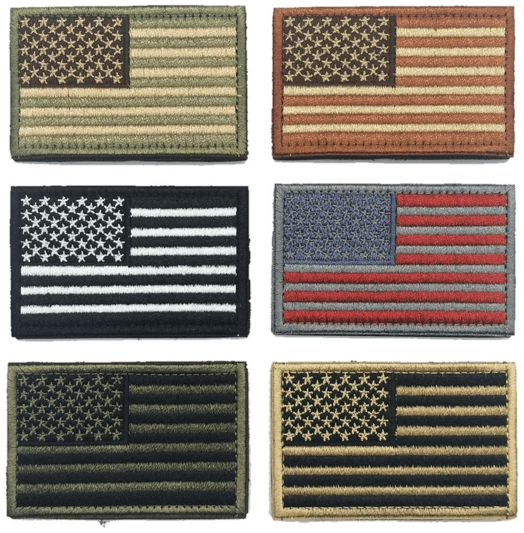 "6 Pack 2"" American Flag & Patriotic Velcro Patches - Bands For Diabetics"
