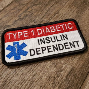 "Type 1 Diabetic Insulin Dependent 2"" x 4"" Inch Velcro Patch"