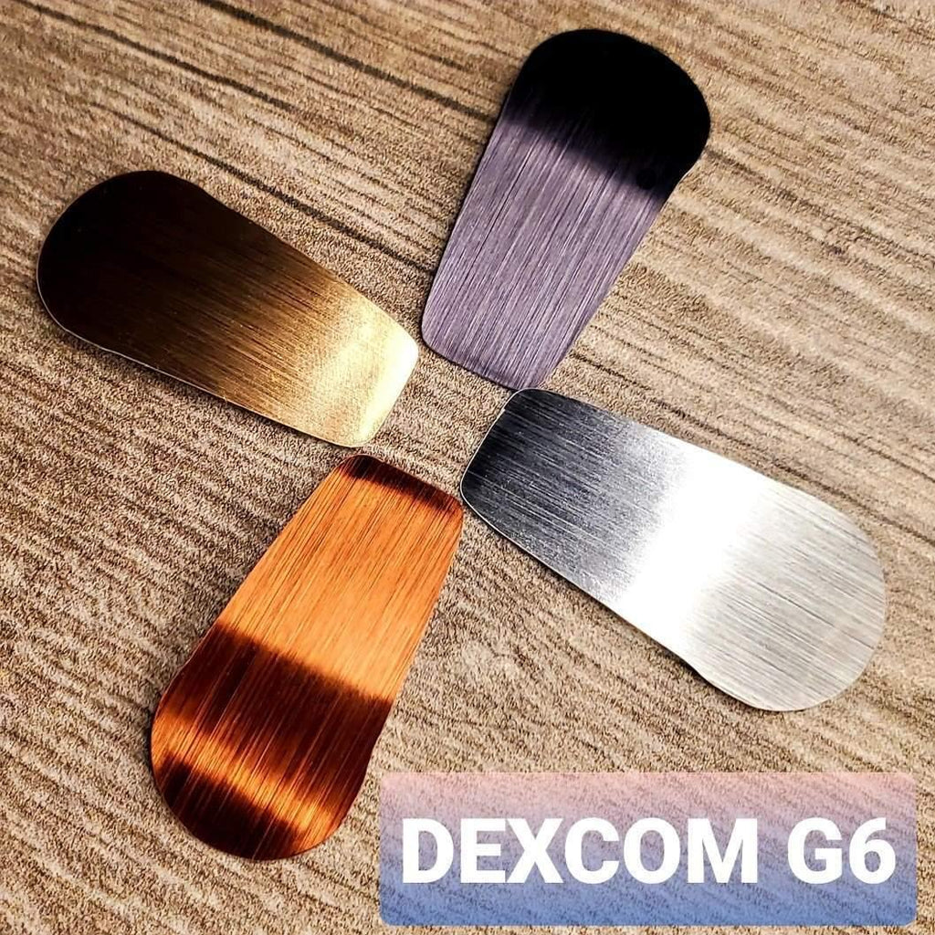 4 Pack : Dexcom G6 Decals : Reusable Waterproof Brushed Metal : Adhesive Stickers