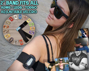 "Dexcom G6 Starter Kit : Case & Two 2"" Velcro® Fabrilastic All-In-One Arm Leg Waist Bands - Freedom Bands For Diabetics"