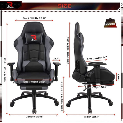 Flexispot Ergonomic Gaming Chair with Retractable Footrest Ri3476